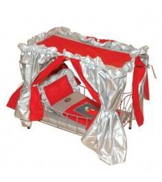 Кроватка для куклы с балдахином красная со светящимся логотипом яблочко Gulliver 568B