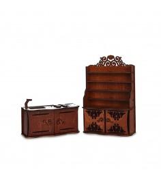 Мебель для кукол кухня кухонный гарнитур и буфет коричневая ЯиГрушка 59414
