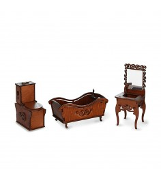 Мебель для кукол ванная комната унитаз ванна раковина с зеркалом ЯиГрушка 59426