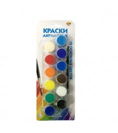 Набор акриловых красок с кисточкой 12 цветов ABtoys A2203