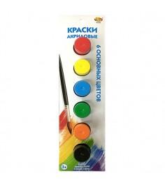 Акриловые краски с кисточкой 6 шт ABtoys A2680