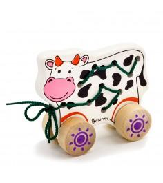 Каталка Alatoys шкр01 шнуровка корова