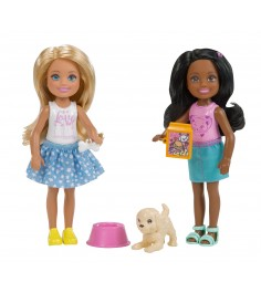Куклы Barbie Челси 2 девочки и щенок FHK97