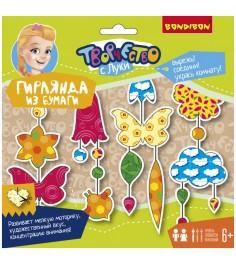 Набор для детского творчества гирлянда из бумаги цветочная поляна Bondibon ВВ1846