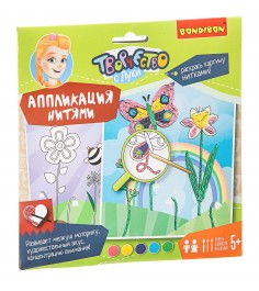 Аппликация нитями цветочная поляна Bondibon ВВ1856