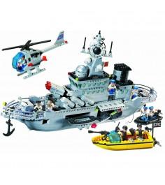 Конструктор военный корабль с аксессурами 843 детали Brick 821