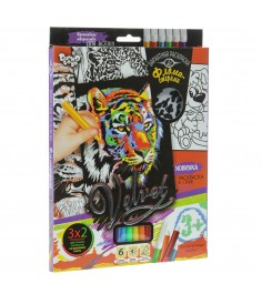 Набор для творчества Данко тойс бархатная раскраска фломастерами тигр VLV-01-04