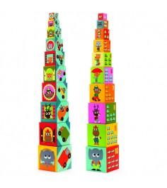 Кубики пирамида Djeco Машины с изображениями k08508