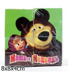 Набор из 4х кубиков Играем вместе маша и медведь 1318