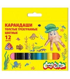 Набор цветных трехгранных карандашей 12 шт Каляка Маляка КТТКМ12