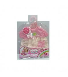 Одежда для кукол платье в полоску с цветочками 40 42 см Карапуз B1017043-RU