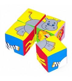 Набор мягких кубиков собери картинку животные 2 4 штуки Мякиши Р55757