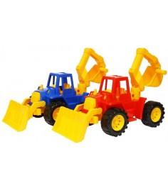 Трактор ангара с грейдером и ковшом Нордпласт 141
