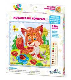 Мозаика по номерам лисенок 290 элементов Origami 3308