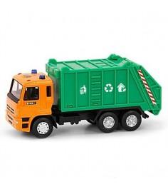 Металлическая машина автопарк мусоровоз зелено оранжевый 1:54 Play Smart А74098