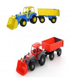Игрушечный трактор алтай с ковшом и прицепом 1 Полесье 35349