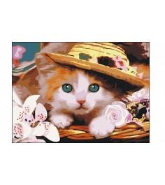 Рисование по номерам котёнок в шляпе 40x50 см Рыжий кот E059