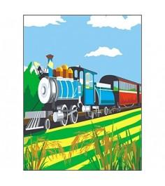 Раскраска по номерам поезд а4 Рыжий кот р-5847