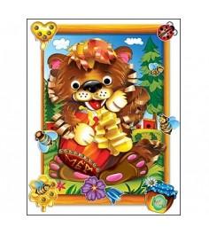 Бумажная аппликация мишка Рыжий кот а-8403