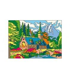 Раскраска песком домик в горах а3 Рыжий кот р-8887