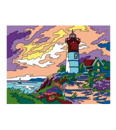Раскраска песком формат а3 маяк у моря Рыжий кот Р-8889