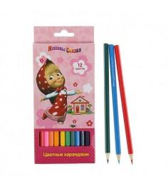 Цветные карандаши маша и медведь 12 цветов Росмэн 29037