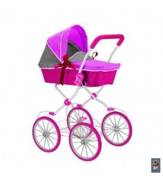Кукольная коляска RT цвет фуксия серый 5179