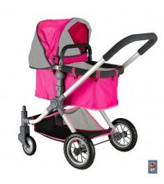 Кукольная коляска RT цвет фуксия серый 5208