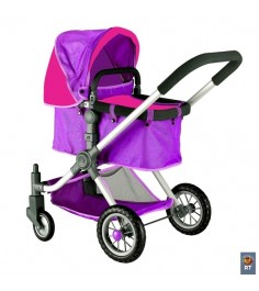 Кукольная коляска RT цвет фиолетовый фуксия 5210
