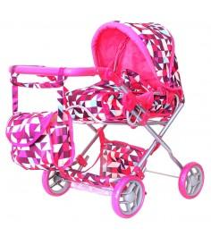 Кукольная коляска RT цвет розовые ромбы 5671