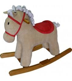 Лошадка качалка мультик бежевый 65 см Shantou Gepai 611033