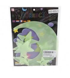 Набор флуоресцентных фигурок светлячки луна и звезды Shantou Gepai 653-1