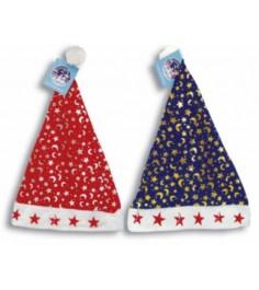 Новогодняя шапка деда мороза с мигающими звездами ночное небо 28 х 30 см Snowmen Е0512