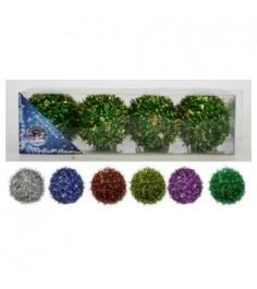 Набор из 4 елочных шаров мишура 7 см Snowmen Е50062