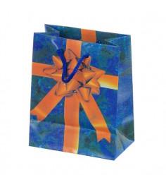 Новогодняя сумка коробка с бантом 13 х 11 см Snowmen Е50601