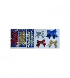 Новогодний карнавальный набор из 6 голографических бантов 10 см Snowmen Е80346
