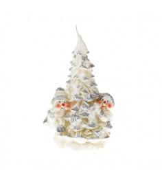 Новогодняя свеча елочка со снеговиками 16 см Snowmen Е93242
