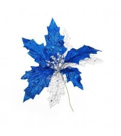 Новогоднее украшение цветок синий 18 см Snowmen Е94203