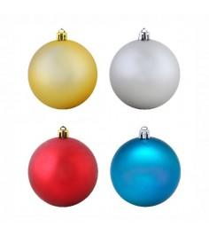 Новогодний набор из 4 елочных игрушек матовые шары 6 см Snowmen Е94233