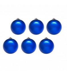 Набор из 6 блестящих елочных шаров синий 8 см Snowmen ЕК0039