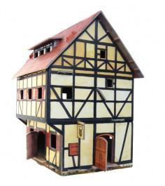 Сборная модель из картона средневековый город таверна Умная Бумага 213
