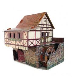 Сборная модель из картона средневековый город водяная мельница Умная Бумага 245-01