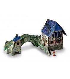 Сборная модель из картона средневековый город мост Умная Бумага 258