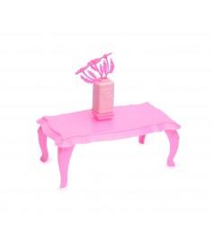 Мебель для куклы журнальный столик с цветами розовая Огонек 1395