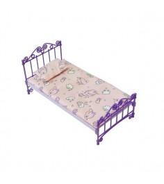 Кукольная кроватка с постельным бельем фиолетовая Огонек 1425