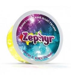 Масса для лепки жёлтая неоновая с блёстками Zephyr 00-00000866